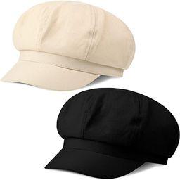 2 Pieces Summer Newsboy Cap Adjustable Visor Beret Hats Soft 8 Panels Vintage Cabbie Hat Octagona...   Amazon (US)