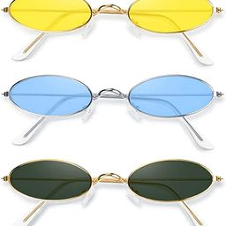 3 Pieces Vintage Oval Sunglasses Metal Frame Oval Sunglasses Slender Candy Color Sunglasses   Amazon (US)
