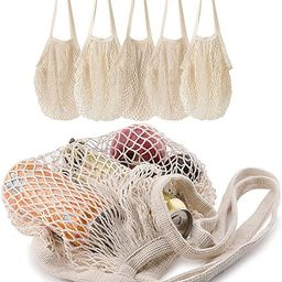 5 pack Cotton String Shopping Bags Reusable Washable Grocery Mesh Bags Organizer for Grocery Shop...   Amazon (US)