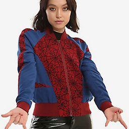 Her Universe Marvel Spider-Man Girls Satin Bomber Jacket   Hot Topic