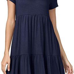 levaca Women Summer Short Sleeve Ruffle Loose Swing Casual Dress   Amazon (US)