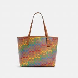 City Tote in Rainbow Signature Canvas   Coach Outlet