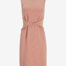 Soft Heathered Twist Front Sleeveless T-Shirt Dress | Express