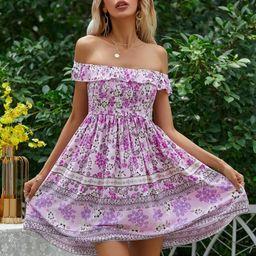 Floral Shirred Bardot Dress | SHEIN