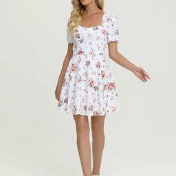 Simple Flavor Floral Print Puff Sleeve Dress | SHEIN