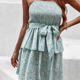 Ditsy Floral Shirred Belted Cami Dress | SHEIN