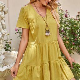 Solid Flounce Hem Babydoll Dress | SHEIN