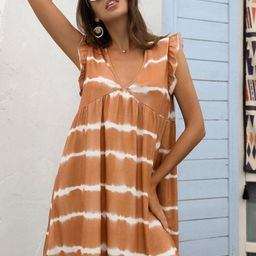Ruffle Armhole Tie Dye Smock Dress | SHEIN