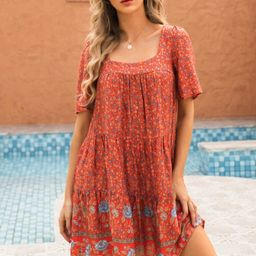 Ditsy Floral Cut Out Back Smock Dress | SHEIN