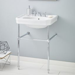 """511/25-WH-8/575-CH Mayfair Metal 25"""" Console Bathroom Sink with Overflow   Wayfair North America"""