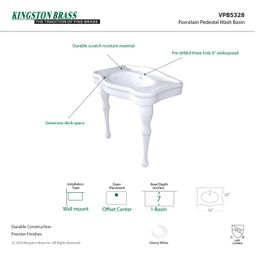 VPB5328 Imperial White Vitreous China Circular Console Bathroom Sink with Overflow   Wayfair North America