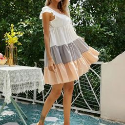 Ruffle Trim Color Block Smock Dress | SHEIN