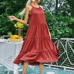 Tie Back Ruffle Hem Solid Dress | SHEIN