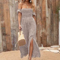 Ditsy Floral Shirred Split Thigh Bardot Dress | SHEIN