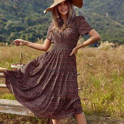 Ditsy Floral Print Shirred Waist Ruffle Hem Dress | SHEIN