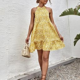 Ditsy Floral Tie Back Swing Halter Dress | SHEIN