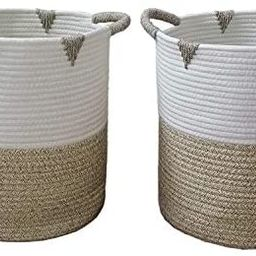 Cotton Rope Woven Storage Basket,2-Pack 12x12x14 Round Organizer Baskets,With Handles Foldable ba... | Amazon (US)