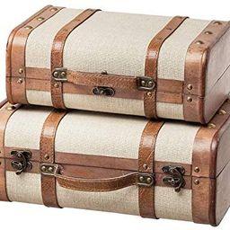 SLPR Decorative Wooden Storage Chest - Set of 2 | Wood Trunk Suitcase with Straps (Beige) | Antiq... | Amazon (US)