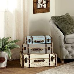 Deco 79 Wood Trunk, 23 by 21 by 18-Inch, Set of 3 | Amazon (US)