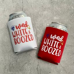 Wed White & Boozed Bachelorette Party Can Coolers 4th of July   Etsy (US)