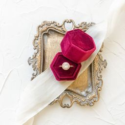 Red Single Velvet Ring Box for Wedding Flat Lays Photography Styling Kit | Etsy (US)