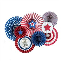 Patriotic Party Paper Pinwheel Fans | 4th of July Party Red White and Blue Party Decor Paper Rose... | Etsy (US)