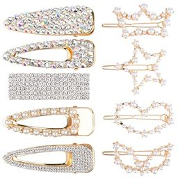 9 Pcs LARGE SIZE Hair Clips, Teenitor Ultra Sparkly 5 Pcs Rhinestone Hair Alligator Clip and 4 Pc... | Amazon (US)