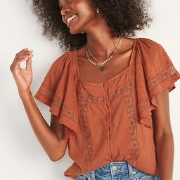Oversized Clip-Dot Crochet-Lace Button-Front Blouse for Women | Old Navy (US)