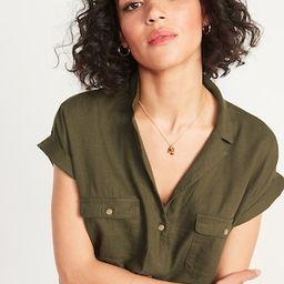 Linen-Blend Utility Short-Sleeve Shirt for Women | Old Navy (US)