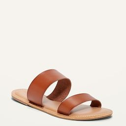 Faux-Leather Double-Strap Slide Sandals for Women | Old Navy (US)