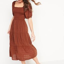Fit & Flare Puff-Sleeve Ruffled Dobby Midi Dress for Women | Old Navy (US)