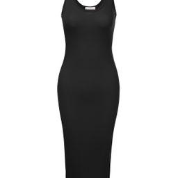 Doublju Women's Sleeveless Bodycon High Split Tank Midi Dress Shirring Details Dress | Walmart (US)