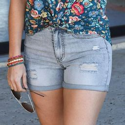 Distressed Super Stretch Shorts   Grace and Lace
