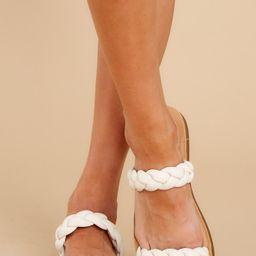 Delightful Walks Ivory Sandals | Red Dress