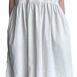 Mordenmiss Women's Cotton Linen Dress Summer Midi Dresses with Pockets   Amazon (US)