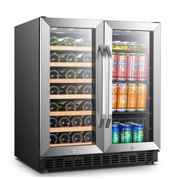 33 Bottle and 70 Can Dual Zone Freestanding Wine and Beverage Refrigerator | Wayfair North America