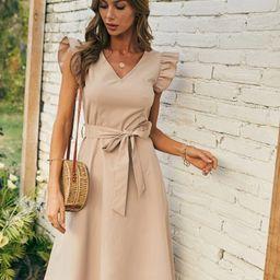 V-neck Ruffle Sleeve Belted Dress | SHEIN