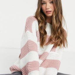 In The Style x Billie Faiers oversized contrast knitted sweater in pink stripe | ASOS (Global)