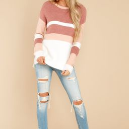 Tall Tales Mauve Pink Multi Stripe Sweater | Red Dress