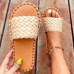 Braided Wide Fit Slide Sandals | SHEIN