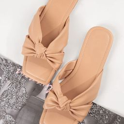 Vegan Leather Knotted Strap Square Toe Sandals | SHEIN