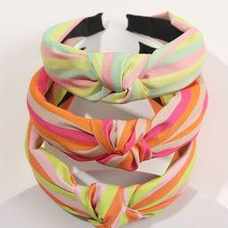 3pcs Striped Print Wide Headband | SHEIN