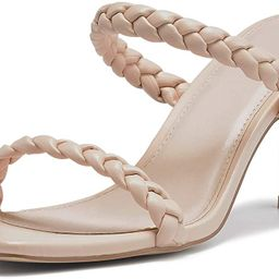 Womens Square Open Toe Braided Heeled Mules Sandals Strappy Slip On Stiletto Heels | Amazon (US)
