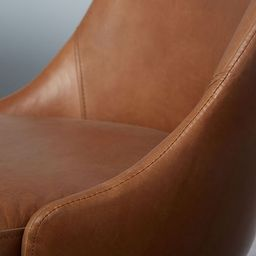 Mid-Century Leather Dining Chair - Nut   West Elm (US)
