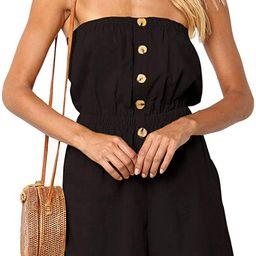ZESICA Women's Summer Off Shoulder Strapless Solid Color Button Down Elastic Waist Short Jumpsuit... | Amazon (US)