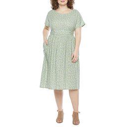 a.n.a Short Sleeve A-Line Dress-Plus | JCPenney