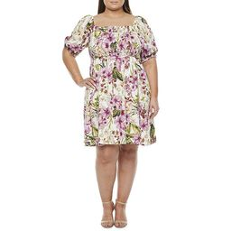 Melonie T-Plus Short Sleeve Floral Fit & Flare Dress with Coordinating Face Mask | JCPenney
