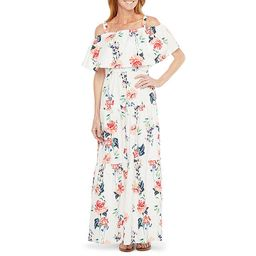Melonie T Short Sleeve Cold-Shoulder Floral  Maxi Dress with Coordinating Face Mask | JCPenney