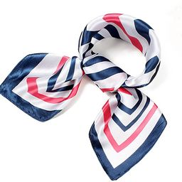 QBSM Womens 23.6 inch Satin Silk Feeling Formal Square Neck Scarf Head Hair Wraps | Amazon (US)