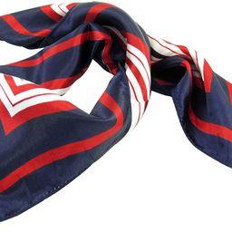 Allegra K Lady Dark Blue Red White Stripe Print Kerchief Square Neck Scarf Wrap | Amazon (US)